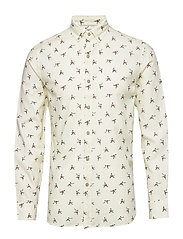 Slim fit printed cotton shirt - NATURAL WHITE