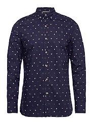 Slim fit printed cotton shirt - NAVY
