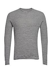 Flecked structure cotton sweater - MEDIUM GREY