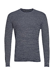 Flecked structure cotton sweater - NAVY