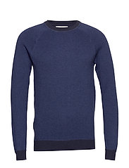 Elbow-patch cotton sweater - NAVY