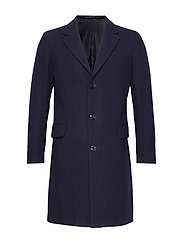Tailored lapels wool coat - NAVY