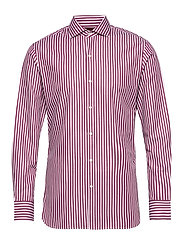 Slim fit patterned striped shirt - DARK RED