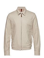 Zipper linen cotton jacket - LIGHT BEIGE