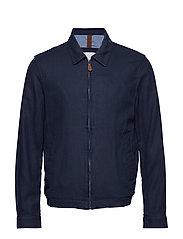 Zipper linen cotton jacket - NAVY