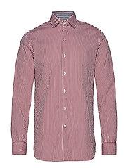 Slim Fit Striped Cotton Shirt Skjorta Casual Röd MANGO MAN