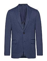 Slim fit herringbone structured blazer - MEDIUM BLUE