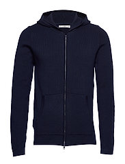 Hooded cotton cardigan - NAVY