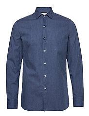 Slim fit herringbone shirt - MEDIUM BLUE