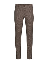 Slim fit structured cotton trousers - BROWN