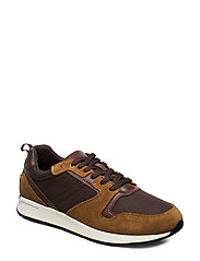 Suede mixed sneakers - BROWN