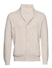 Chunky-knit lapels cardigan - LIGHT BEIGE