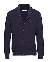 Chunky-knit lapels cardigan - NAVY