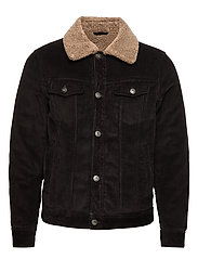 Faux shearling inner corduroy jacket - BLACK