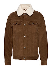 Faux shearling inner corduroy jacket - DARK BROWN