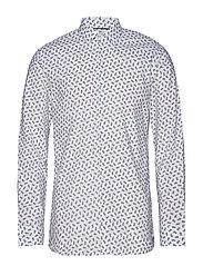 Slim Fit Printed Cotton Shirt Skjorta Casual Vit MANGO MAN