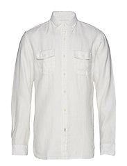 100% Linen Regular Fit Shirt Skjorta Casual Vit MANGO MAN
