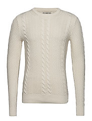 Braided cotton sweater - NATURAL WHITE