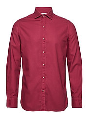 Slim fit pearl buttons shirt - DARK RED