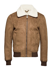 Leather effect aviator jacket - MEDIUM BROWN