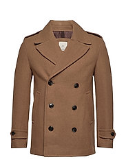 Double-breasted wool coat - MEDIUM BROWN