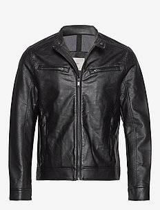 Faux-leather biker jacket - BLACK