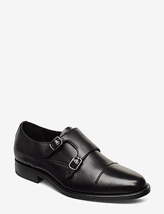 Two buckle lack leather shoes - BLACK