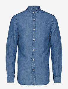 Slim fit striped linen shirt - OPEN BLUE