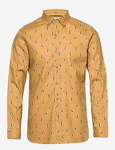 Slim fit printed cotton shirt - DARK YELLOW