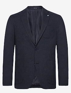 Textured slim fit blazer - MEDIUM BLUE