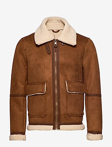 Faux-shearling suede effect jacket - DARK BROWN