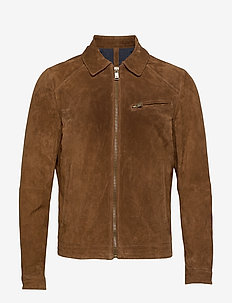Elbow-patch brown suede jacket - MEDIUM BROWN