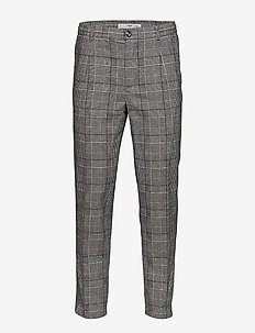 Check pleated trousers - GREY