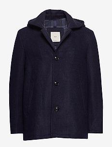 Detachable hood wool coat - NAVY