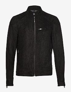 Faux-suede biker jacket - BLACK