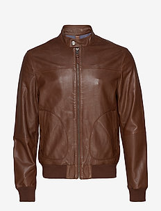 Backstitching nappa biker jacket - DARK BROWN