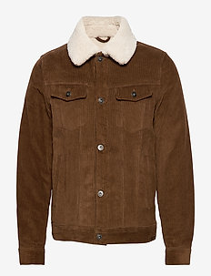 Faux shearling inner corduroy jacket - DARK BROWN