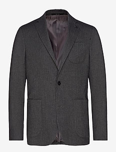 Slim fit herringbone structured blazer - GREY