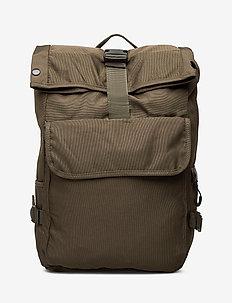 Lapel nylon backpack - BEIGE - KHAKI