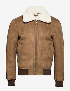 Leather effect aviator jacket - MEDIUM BROWN