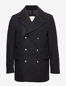 Double-breasted wool coat - NAVY