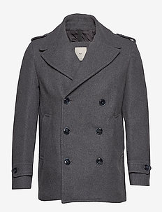 Double-breasted wool coat - GREY