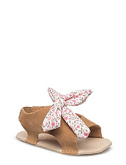 Bow suede sandals - BROWN