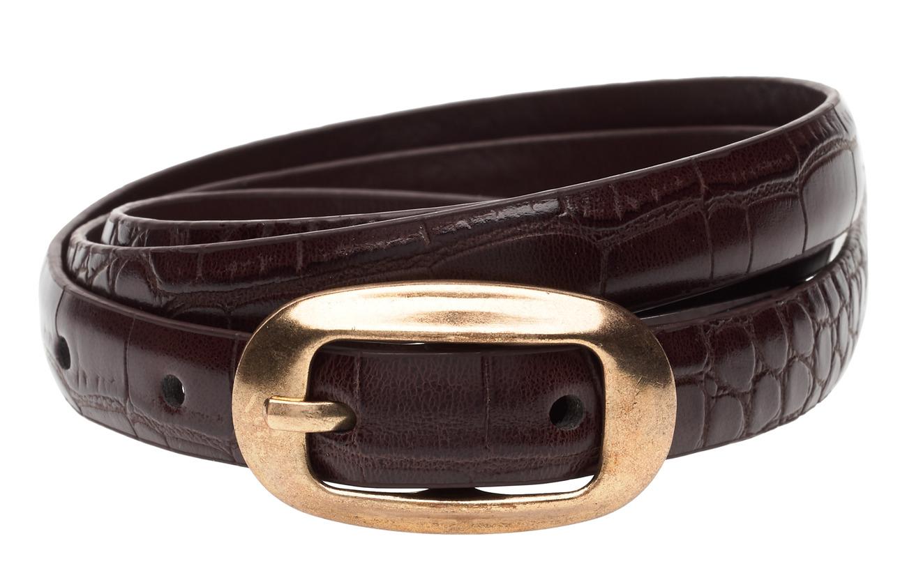 Mango Crocodile effect belt - DARK BROWN