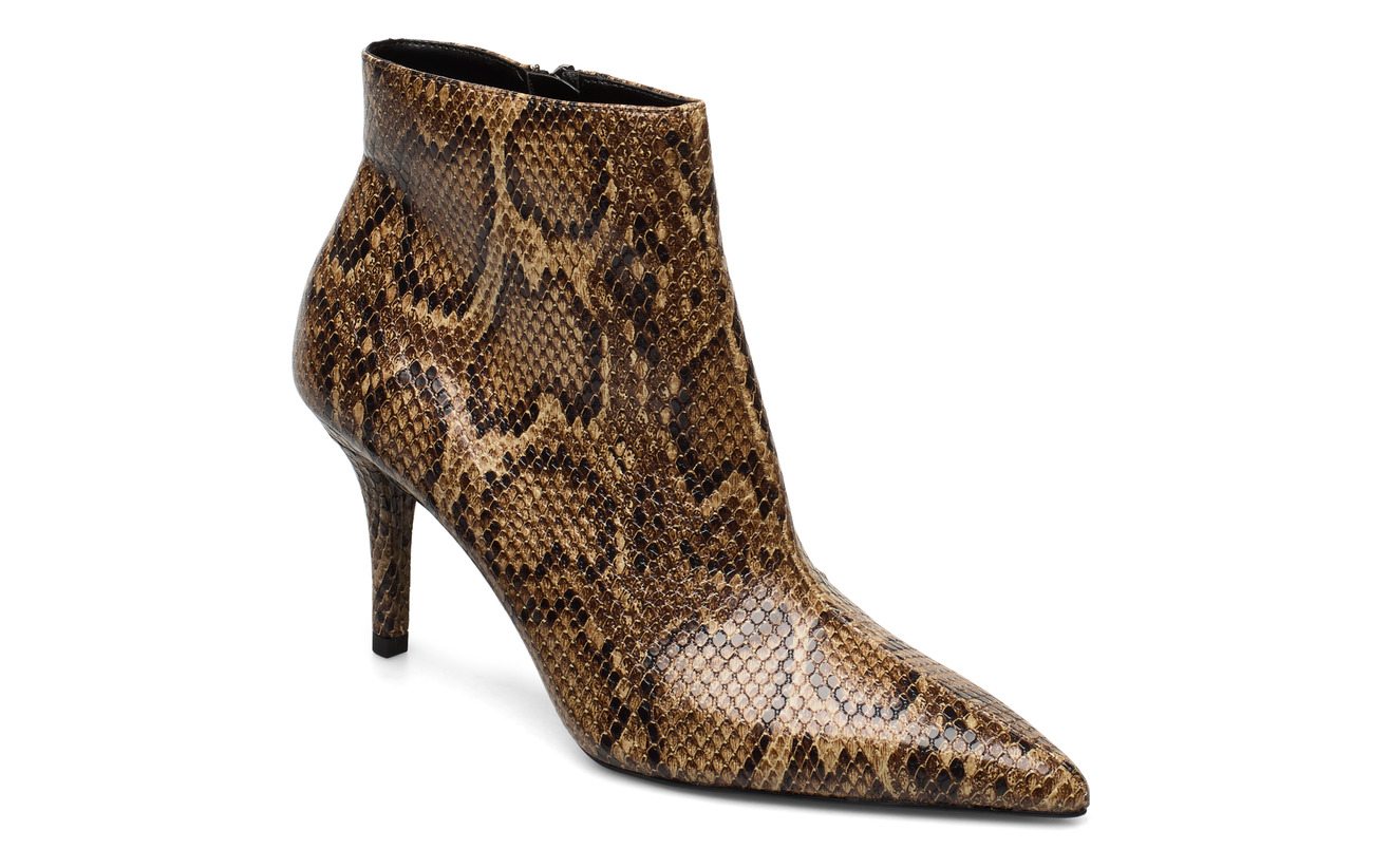 Mango Snake-effect ankle boots - BROWN
