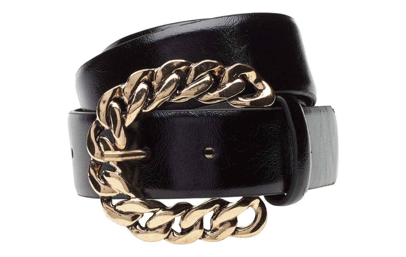 Mango Embossed buckle belt - BLACK