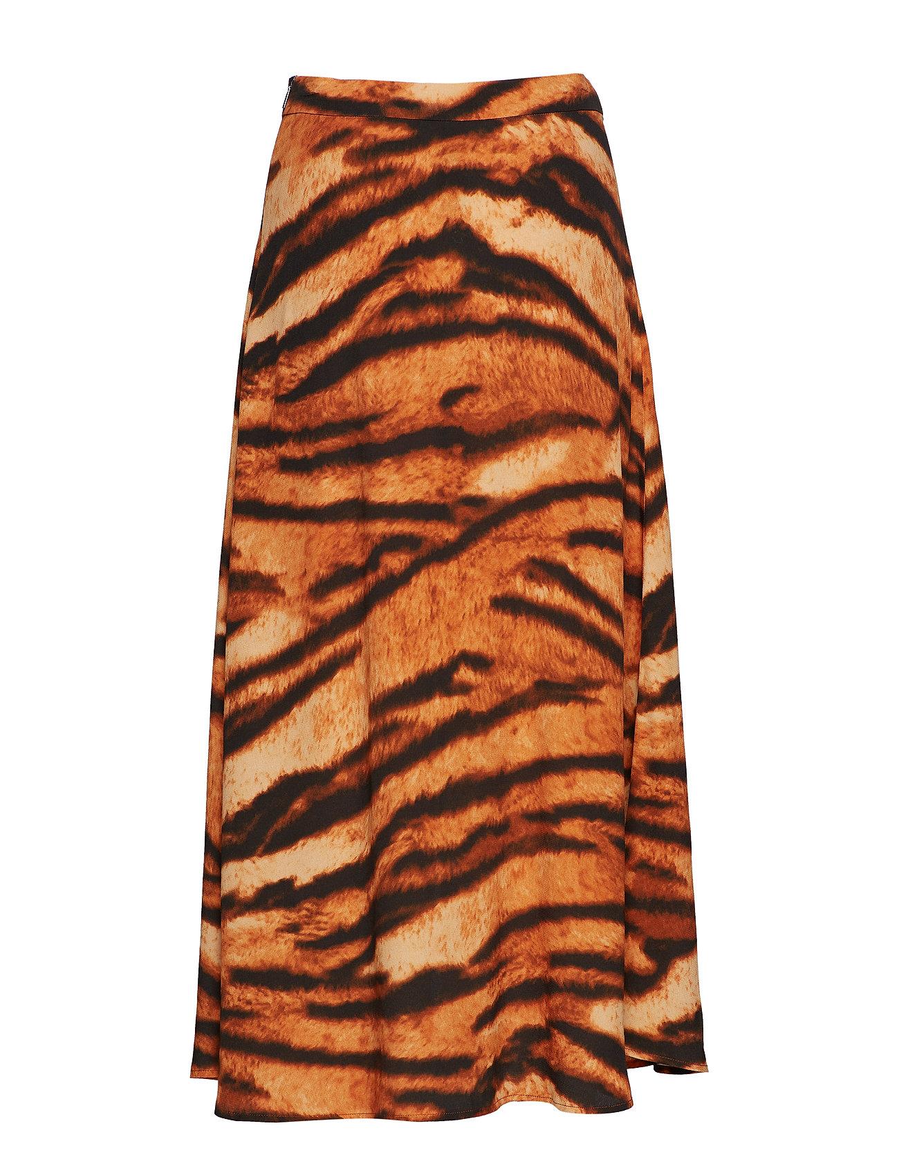 Tiger Print Skirt Lang Nederdel Orange MANGO