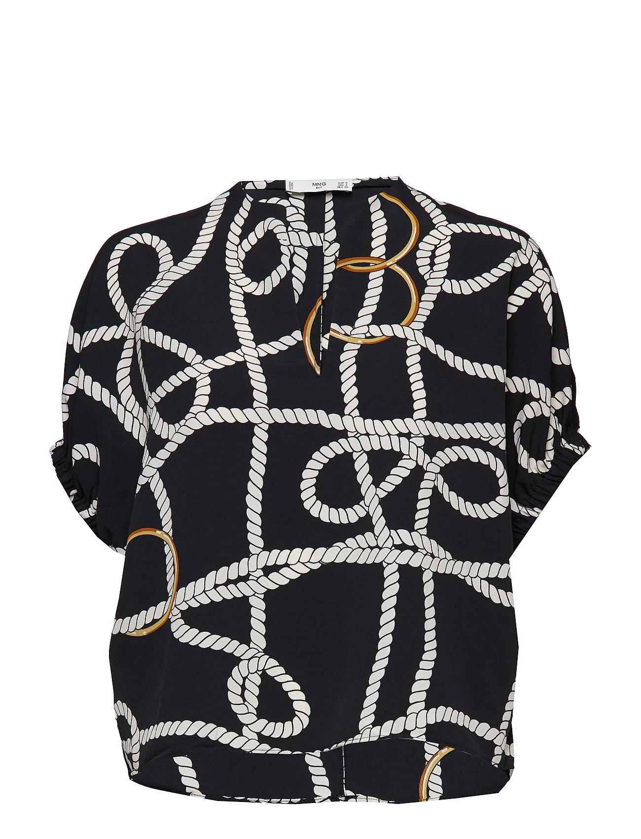 Mango Scarf print blouse Ögrönlar