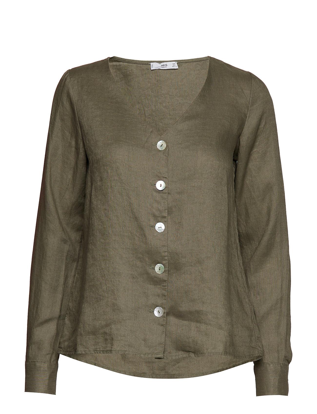 Mango Button linen blend blouse Ögrönlar