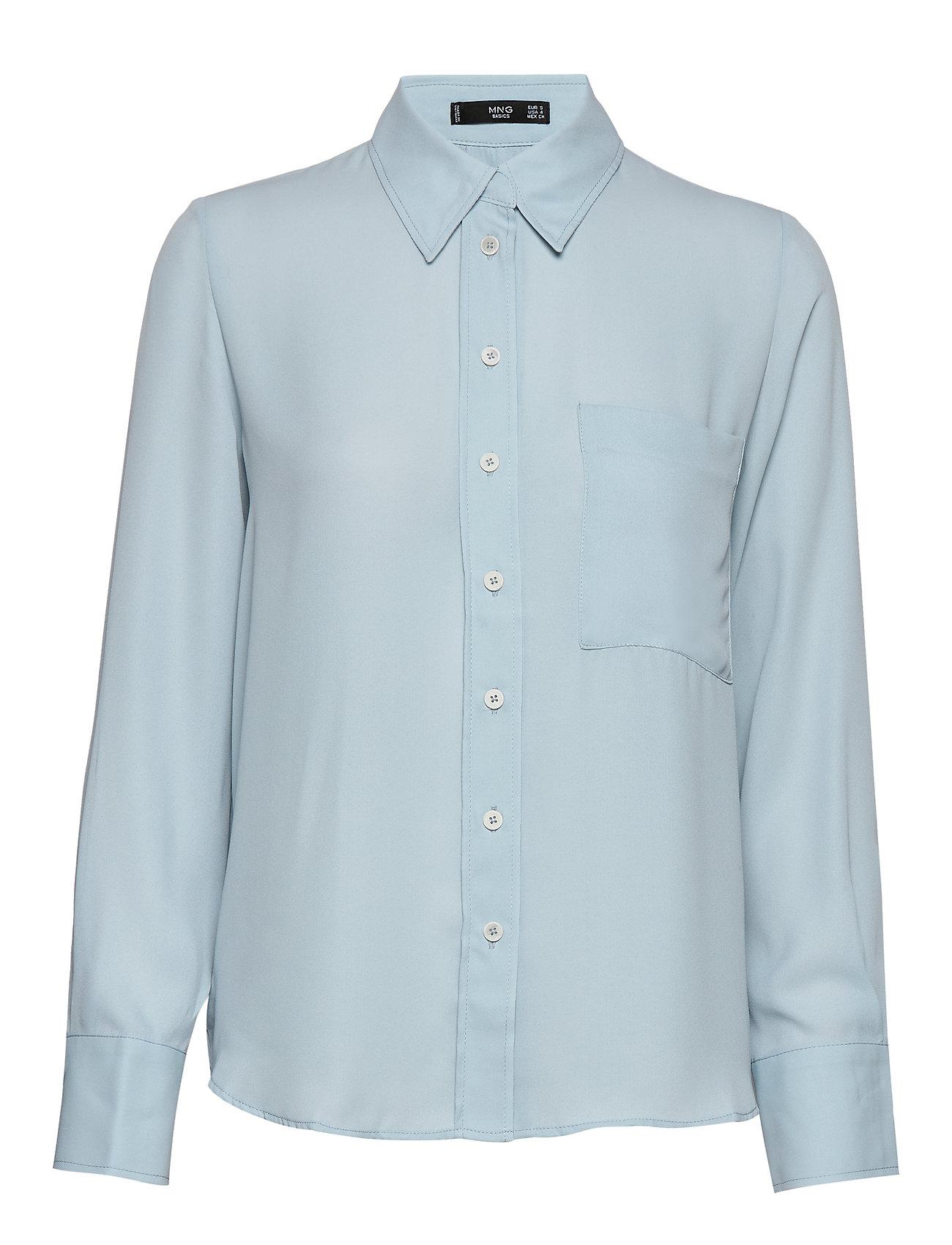 Mango Pocket flowy shirt - LT-PASTEL BLUE
